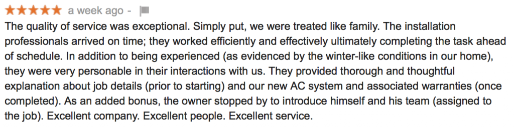 AC company five star review from real customer